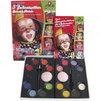 Eulenspiegel Ansiktsmaling - sminkesett med step-by-step, ass. farger, 1 sett