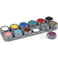 Grimas Ansiktsmaling - Sminkepalett, ass. farger, 12x2,5 ml/ 1 stk.