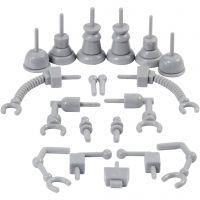 Robotdeler, str. 0,5-6 cm, grå, 19 stk./ 1 pk.
