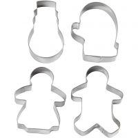 Utstikksformer, pepperkake-dame, pepperkake-mann, vott og snømann, H: 8 cm, 4 stk./ 1 pk.