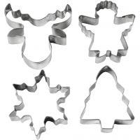 Utstikksformer, juletre, engel, reinsdyr, snøkrystall, H: 8 cm, 4 stk./ 1 pk.