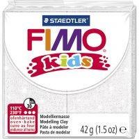 FIMO® Kids leire, glitter, hvit, 42 g/ 1 pk.