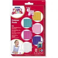 FIMO® Kids leire, suppl. farger, 6x42 g/ 1 pk.
