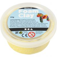 Foam Clay® , metallisk, gul, 35 g/ 1 boks