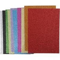 Mosgummi, A4, 210x297 mm, tykkelse 2 mm, glitter, ass. farger, 10 ass. ark/ 1 pk.