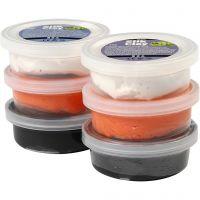 Silk Clay®, svart, orange, hvit, 6x14 g/ 1 pk.