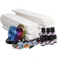 Lange lerreter med akvarell, hvit, 1 sett, 20 stk.