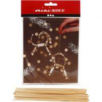 Kreativ minikit, julebukk av halm, H: 7 cm, 1 sett