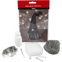 Kreativ minikit, Snutenisse, H: 13 cm, gråmelert, 1 sett