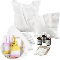 Kreativ-pakke - Batikkfargede kjøkkenhåndklær og muleposer, 1 sett