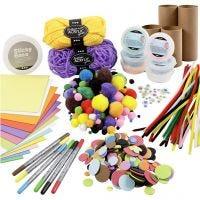 Kreativ-pakke - Figurer av papprør, glade farger, 1 sett