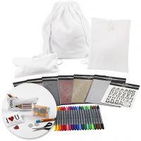 Kreativ-pakke - Dekorasjon av tekstiler til skolestart, 1 sett