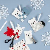 Flettet julehjerte med polardyr
