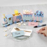 Fødselsdagstog dekorert med hobbymaling samt tall og dyr av Silk Clay