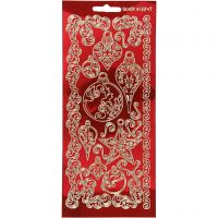 Stickers, ornamenter, 10x23 cm, gull, transparent rød, 1 ark