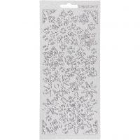 Stickers, snefnugg, 10x23 cm, sølv, 1 ark