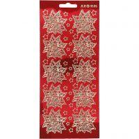 Stickers, julestjerne, 10x23 cm, gull, transparent rød, 1 ark