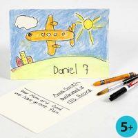 Neocolor II og tusj på akvarellpapir som postkort