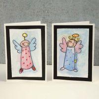 Julekort med engel i akvarell