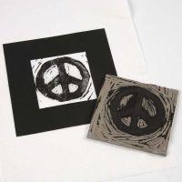 Linoleumstrykk av peace-tegn