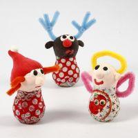 Julefigurer av glasspærer, Silk Clay og chenille