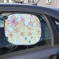Solskjerm med tegnet blomstereng