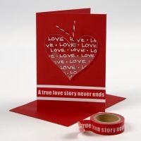 Valentinskort med dekorert hjerte av plexiglass
