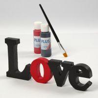 Malt og lakkert dekorasjonsord - 'Love'