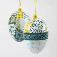 Egg med decoupage i oppheng med treperle