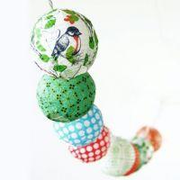 Decoupage med Vivi Gade design på små lamper av rispapir