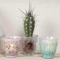 Lysglass dekorert med decoupagepapir i design fra Vivi Gade