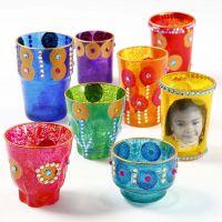 Dekorasjon på diverse glass til lys