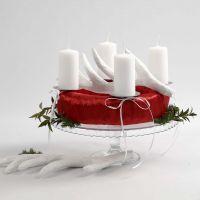 Adventskrans i rødt og hvitt