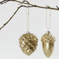 Glasskuler med gullglitter innvendig
