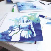 Illustrasjon laget med akvarellfarger på tusj