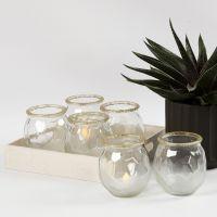 Frostede lysglass med gullkant