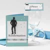 Innvitasjon og bordpynt til konfirmasjonsfest til gutt