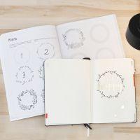 Bullet journal ved hjelp av øvingshefte
