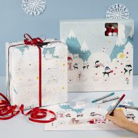 Fargelegging av julekalender, kalenderboks og gavepapir med polarmotiver