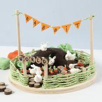 Miniatyr-verden med kaniner og gulerøtter av Silk Clay