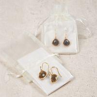 Øreringer med smykkeanheng med stein