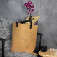 Mulepose av lærpapir med brodert kant og stjerne