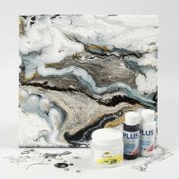 Fluid art på malerlerret med hobbymaling og Pouring-Fluid