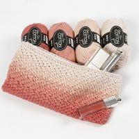Heklet kosmetikkpung med ombre effekt
