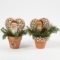 Glansbilder med julenisser på hjerteform i potter