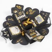 Eksplosjons eske som gave med penger og sjokolade