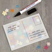 Paljettfylt postkort av pergamentpapir