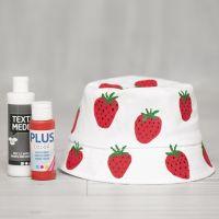 Bøllehat med malede jordbær