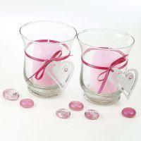 Lysglass med belte av hjerte i satengbånd