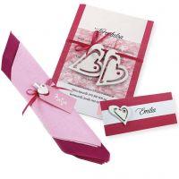 Innbydelse, bordkort og serviettpynt i pink og hvit